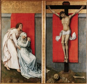 The Crucifixion with the Virgin and St. John the Evangelist Mourning by Rogier van der Weyden